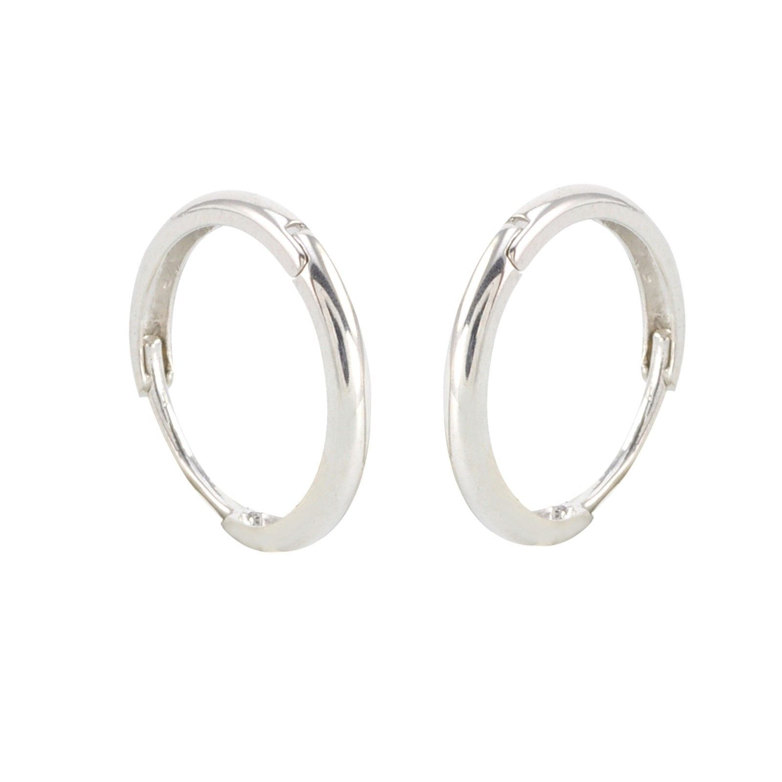 10k white gold hoop earrings 15mm medium large hinged. Black Bedroom Furniture Sets. Home Design Ideas