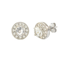 White Topaz Gemstone Stud Earrings 925 Sterling Silver Round Gem CZ Accent - $27.99