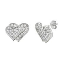 Double Heart Earrings Sterling Silver Micropave CZ Cubic Zirconia 11mm x... - $15.00