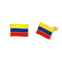 10k Yellow Gold Columbia Flag Earrings with Scr... - $23.14