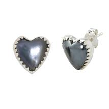 Sterling Silver Hematite Gemstone Earrings Heart-Shaped Studs 11mm - $18.39