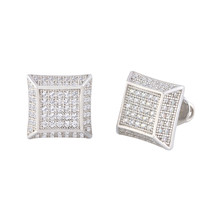 Men's Sterling Silver Hip Hop Stud Earrings Micropave CZ Deep 10mm Square - $26.85