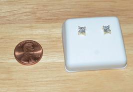 Square CZ Stud Earrings Screw backs Cubic Zirconia Yellow 925 Silver - $12.60