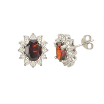 Garnet Gemstone Flower Stud Earrings Sterling Silver Micropave CZ Accent - $38.39