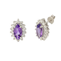 Amethyst Gemstone Stud Earrings 925 Sterling Silver Elongated Oval - $32.79
