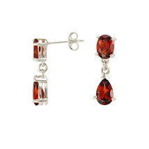 Garnet Gemstone Teardrop Dangle Earrings 925 Sterling Silver (3.57 cttw) - $20.79