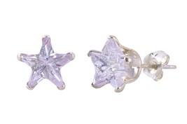 Lavendar Star CZ Stud Earrings Cubic Zirconia .925 Sterling Silver - $5.70+