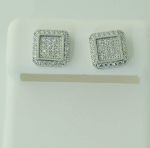 Screw Back Stud Earrings Sterling Silver Clear Micro Pave CZ ASC Brand - $70.86