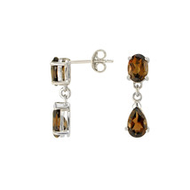 Smoky Quartz Gemstone Teardrop Dangle Earrings 925 Sterling Silver (2.77... - $29.59