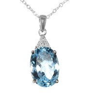 "925 Sterling Silver 7ct Blue Topaz & Diamond Necklace, 18"" chain - $56.99"