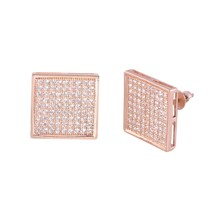 Micropave Earrings Screwback Studs Sterling Silver Rose Gold Plated 14mm... - $34.75