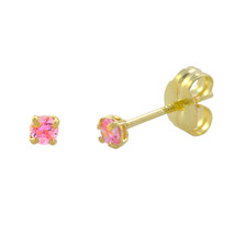 10k Yellow Gold Round Pink CZ Stud Earrings Cubic Zirconia Basket Setting - $14.39+