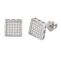 Screw Back Stud Earrings Sterling Silver Pave CZ Cubic Zirconia 8mm Square - $19.36