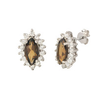 Smoky Quartz Gemstone Stud Earrings 925 Sterling Silver Elongated Oval - $29.59