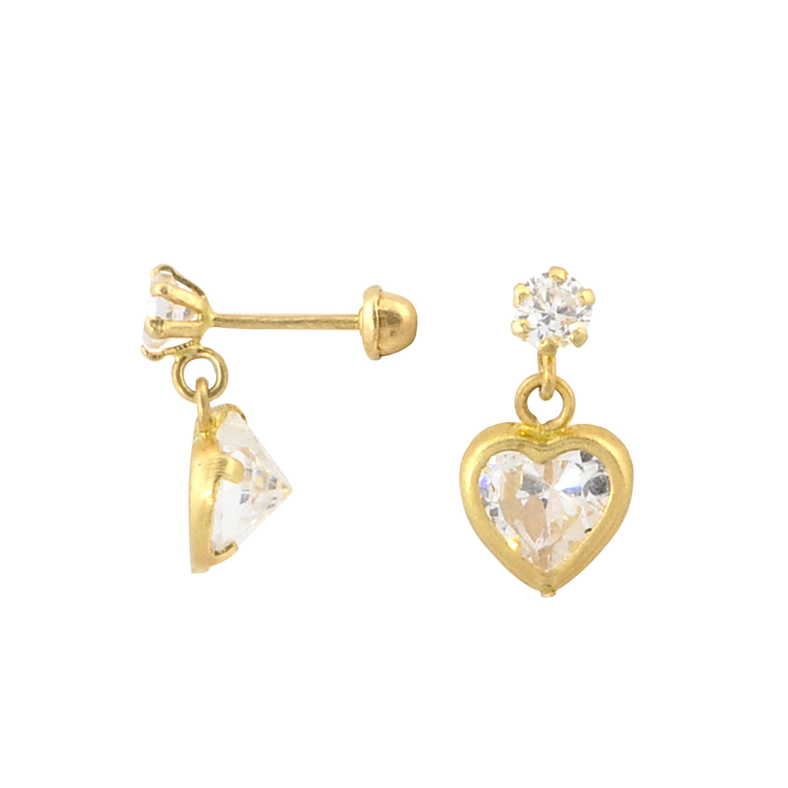 10k Gold CZ Heart Dangle Earrings with Screwbacks 7mm Cubic Zirconia Stones