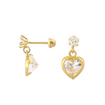 10k Gold CZ Heart Dangle Earrings with Screwbacks 7mm Cubic Zirconia Stones - $31.19