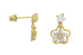 Sterling Silver Flower Dangle Earrings White Cubic Zirconia Gold Plated ... - $22.90