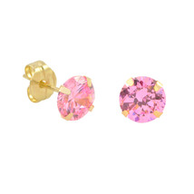 10k Yellow Gold Stud Earrings Pink CZ Cubic Zirconia Round Prong Set - $9.75+