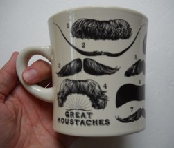 Great Moustaches Coffee Mug Cup By The Unemployed Philosophers Guild, 2012, Exc. - $19.95