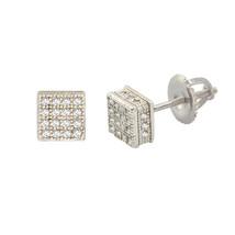 Sterling Silver Square Screw Back Stud Earrings 6mm Clear CZ 3d Side Stones - $20.53