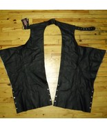 HIGHWAY HAWKS GENUINE HIGH QUALITY BLACK LEATHER BIKER CHAPS, SIZE SMALL, NEW!!! - $45.99