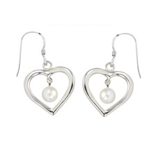 Dangle Earrings White Pearl Open Heart Design .925 Sterling Silver - $27.99
