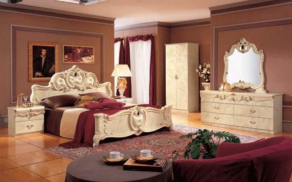 Classic Style Barocco Ivory Veneer Bedroom Set Queen Size Contemporary Design