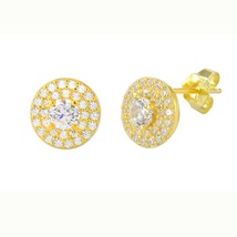 Stud Earrings Yellow Gold Plate Pave White CZ Cubic Zirconia 9mm Circle ... - $18.95