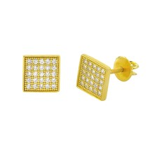 Screwback Stud Earrings .925 Sterling Silver Yellow Gold 7mm CZ Square U... - $12.47
