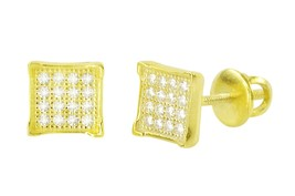 Sterling Silver Yellow Gold Plated Pave Stud Earrings Screwbacks 6mm CZ ... - $15.00
