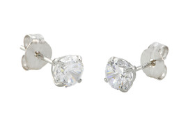10k White Gold Round Clear Cubic Zirconia CZ Stud Earrings Basket Setting - $14.39+
