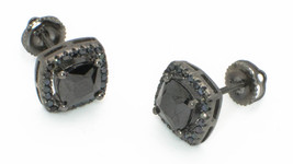 Black CZ Stud Earrings Screwback Sterling Silver Micropave 8mm Square AS... - $66.12
