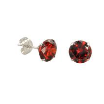 10k White Gold Red Garnet CZ Stud Earrings Cubic Zirconia Round Prong Set - $9.75+