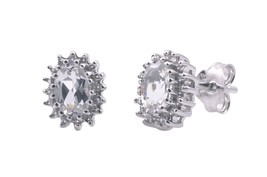 Sterling Silver White Topaz & Diamond Stud Earr... - $47.50
