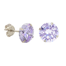 10k White Gold Lavender CZ Stud Earrings Cubic Zirconia Round Prong Set - $9.75+