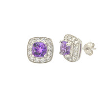 Amethyst Gemstone Stud Earrings 925 Sterling Silver Square Micropave CZ Accent - $32.79
