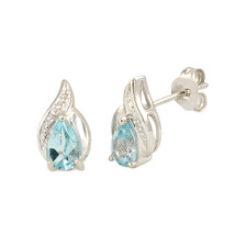 Diamond & Blue Topaz Earrings (.01 cttw, I-J, I2) 925 Sterling Silver Ov... - $60.00