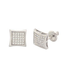925 Sterling Silver Stud Screwback Earrings Clear Pave Cubic CZ 9mm Dome... - $23.30