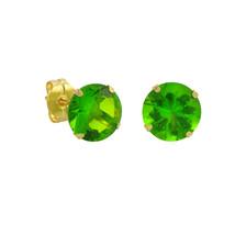 10k Yellow Gold Peridot Green CZ Stud Earrings Cubic Zirconia Round Pron... - $9.75+