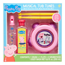 Peppa Pig 4-Piece Musical Tub Tunes Bath Set with Drum and Flute PINK& P... - $21.50