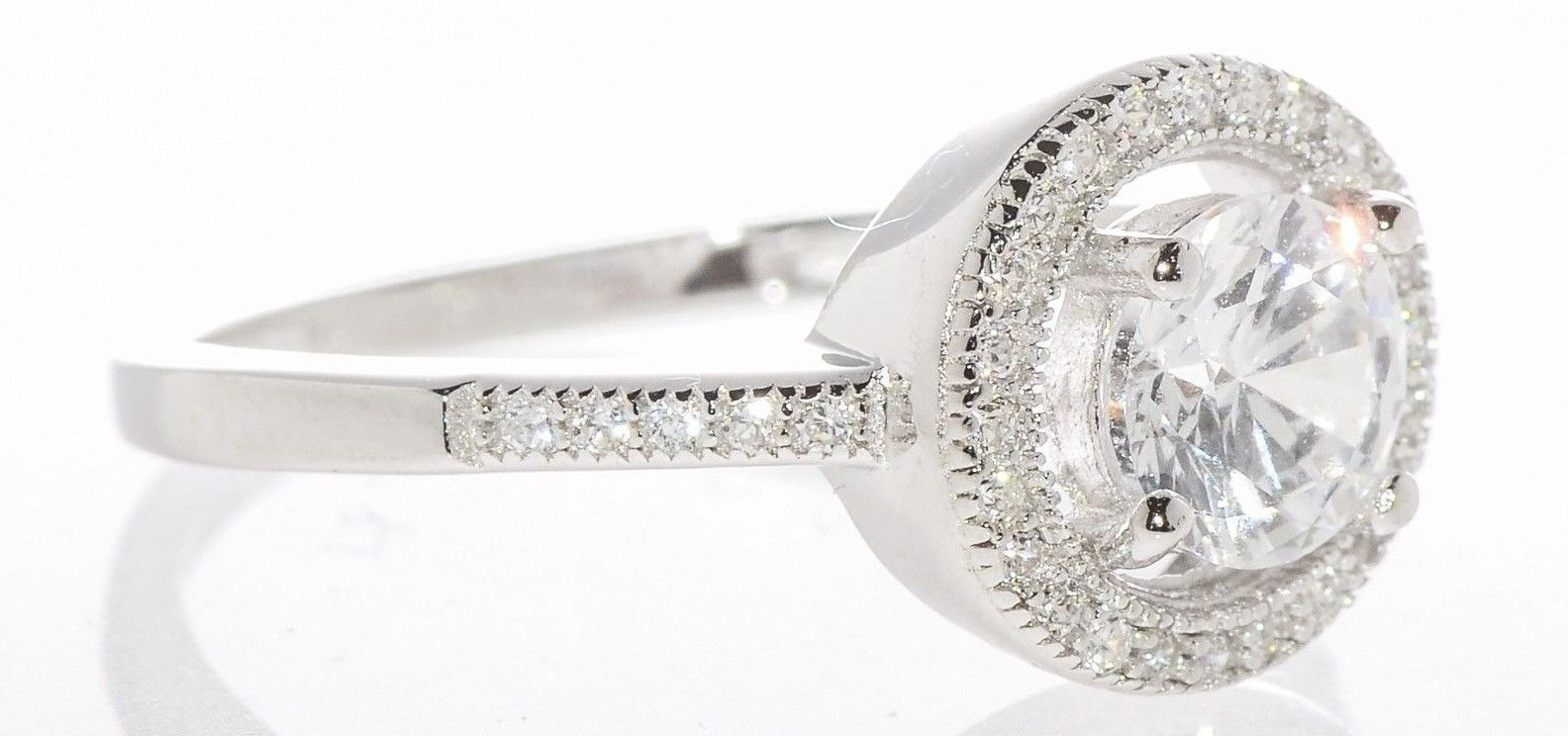 Sterling Silver Ladies Cocktail Ring 6mm Round CZ Rhodium Circle Cubic Zirconia