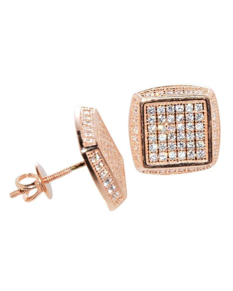 Hip Hop Earrings: Sterling Silver Hip Hop Earrings Rose Gold Plated Screw