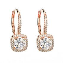 ZirconZ-Dainty Sterling Silver Cushion Signity CZ Halo Hoop Dangle Earrings - $49.99