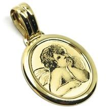 Colgante Medalla de Oro Amarillo 750 18K Ovalados, Angelo Custode, 21mm ... - $230.17