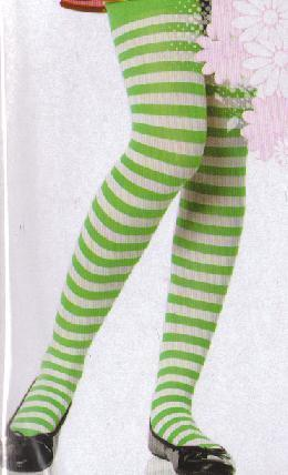 CHILD'S GREEN & WHITE STRIPED TIGHTS EXTRA LARGE 11-13
