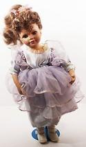 "Doll 16"" Inches Porcelain Hand Panted Brown Hair Purple Dress Brown Eyes (B16B) - $49.99"