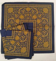 Navy Blue Gold Scroll Stiff Fabric Floral 17 in Square Set 4 Vtg Cloth N... - $12.86