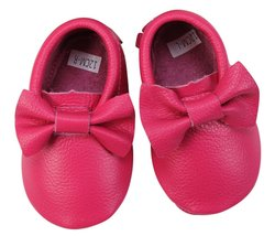 Unique Baby 100% Genuine Leather Bow Moccasins Anti-Slip Tassels Prewalk... - $14.99