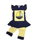Unique Baby Girls Summer Sailboat 2-Piece Ruffl... - $19.99