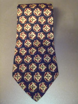 Burberrys Vintage Silk Blue Burgundy Circle Print Neck Tie Mens - $23.16